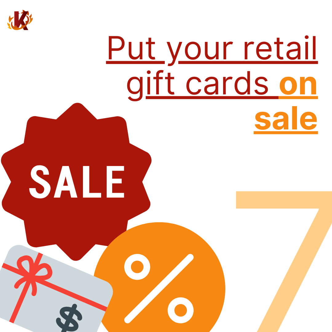 sale, percentage sign, and gift card sticker on put your retail gift card on sale image carousel