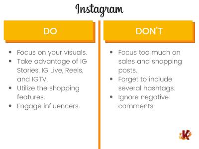 Table of Dos and Don'ts of Instagram Use for Social Media in Retail