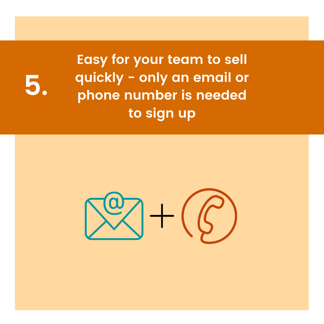 carousel graphic with icon for easy to sell and only email and phone required as reason to get a point-based loyalty program
