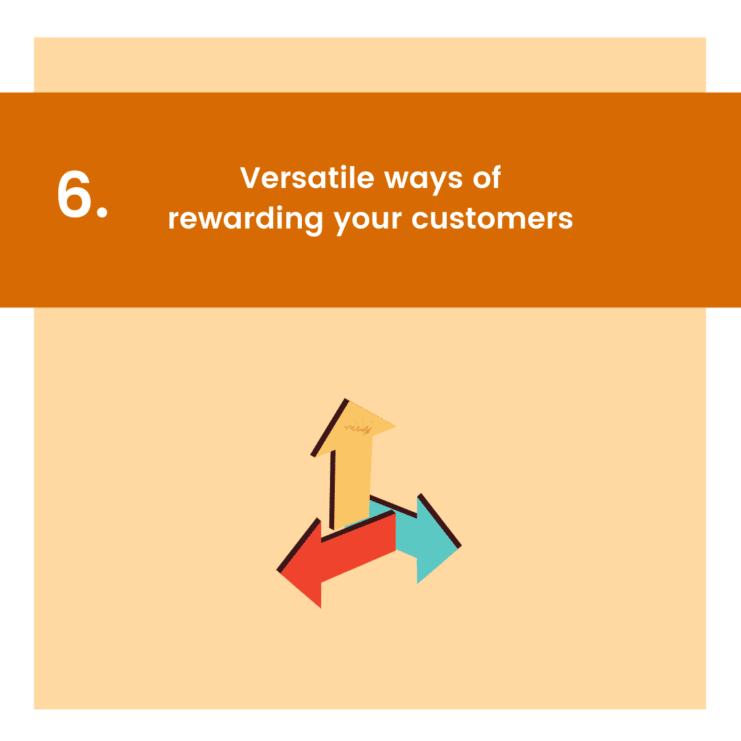 carousel graphic with icon for versatile ways of rewarding as reason to get point-based loyalty program