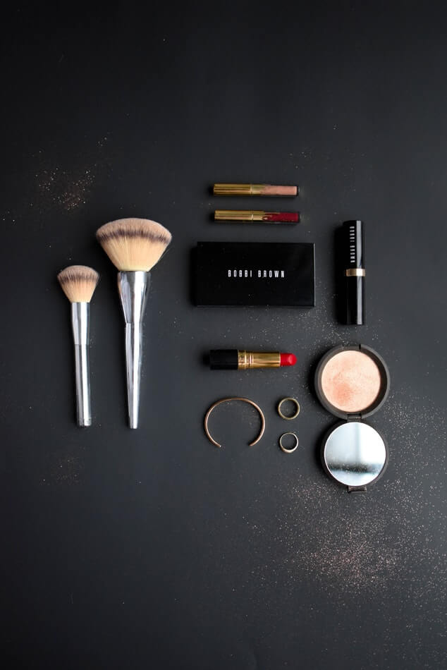 Retail makeup accessories for sale at a salon