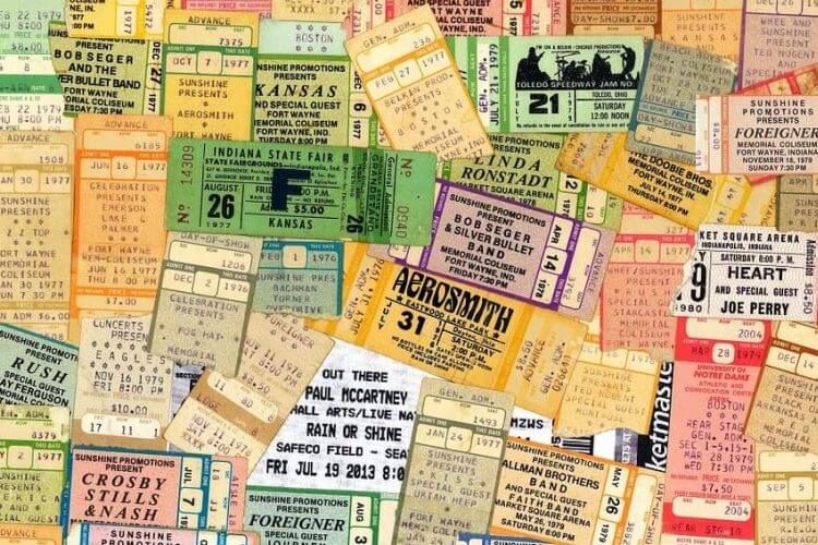 A collage of various printable tickets made by a ticket printing system