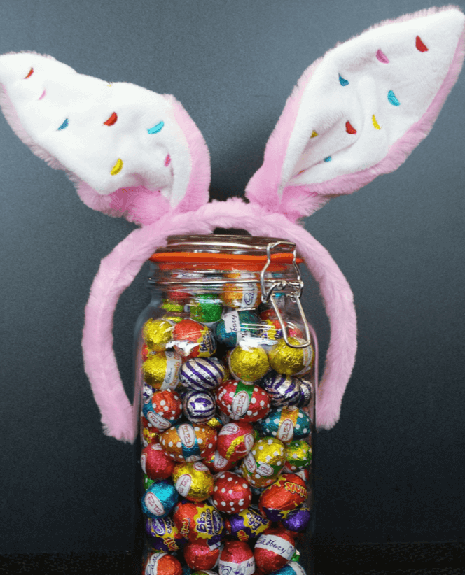 A jar of Easter chocolates used for a guessing contest