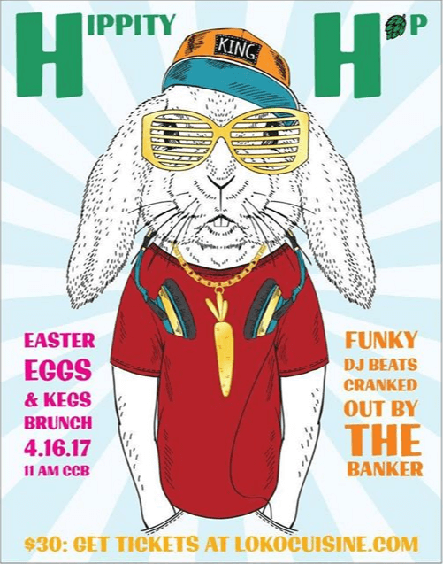 A poster for an Easter event with brunch and beer and music