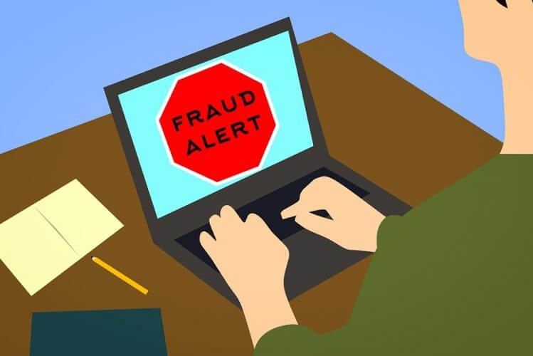 Cartoon of business preventing fraud in eCommerce with warning sign on website for customer