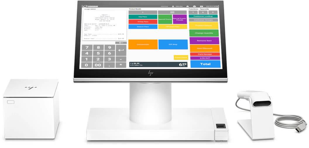 Vape shop POS system with desktop, receipt printer and scanner