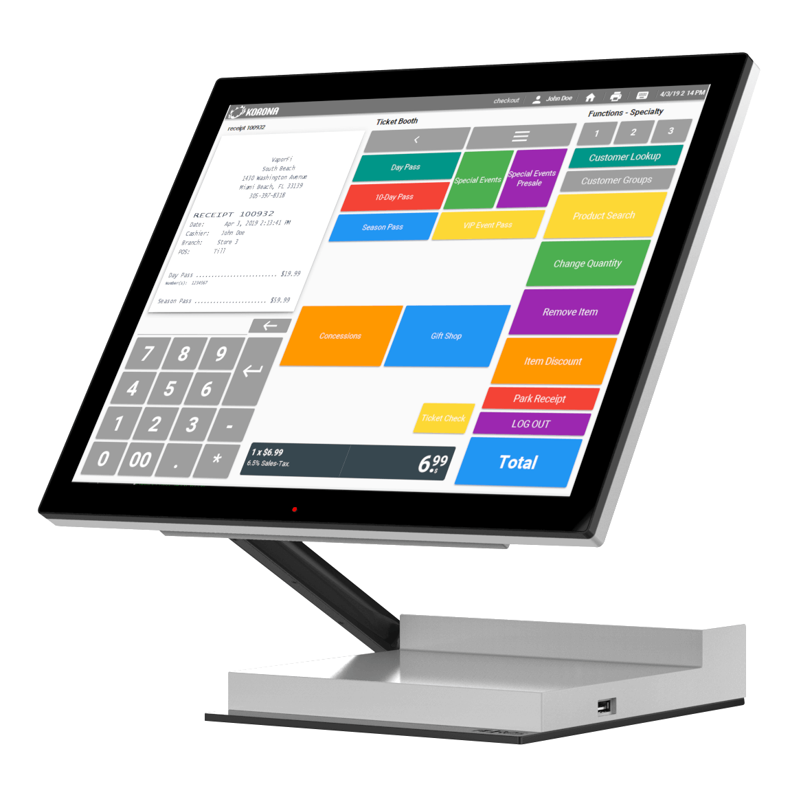 POS system desktop with product screen
