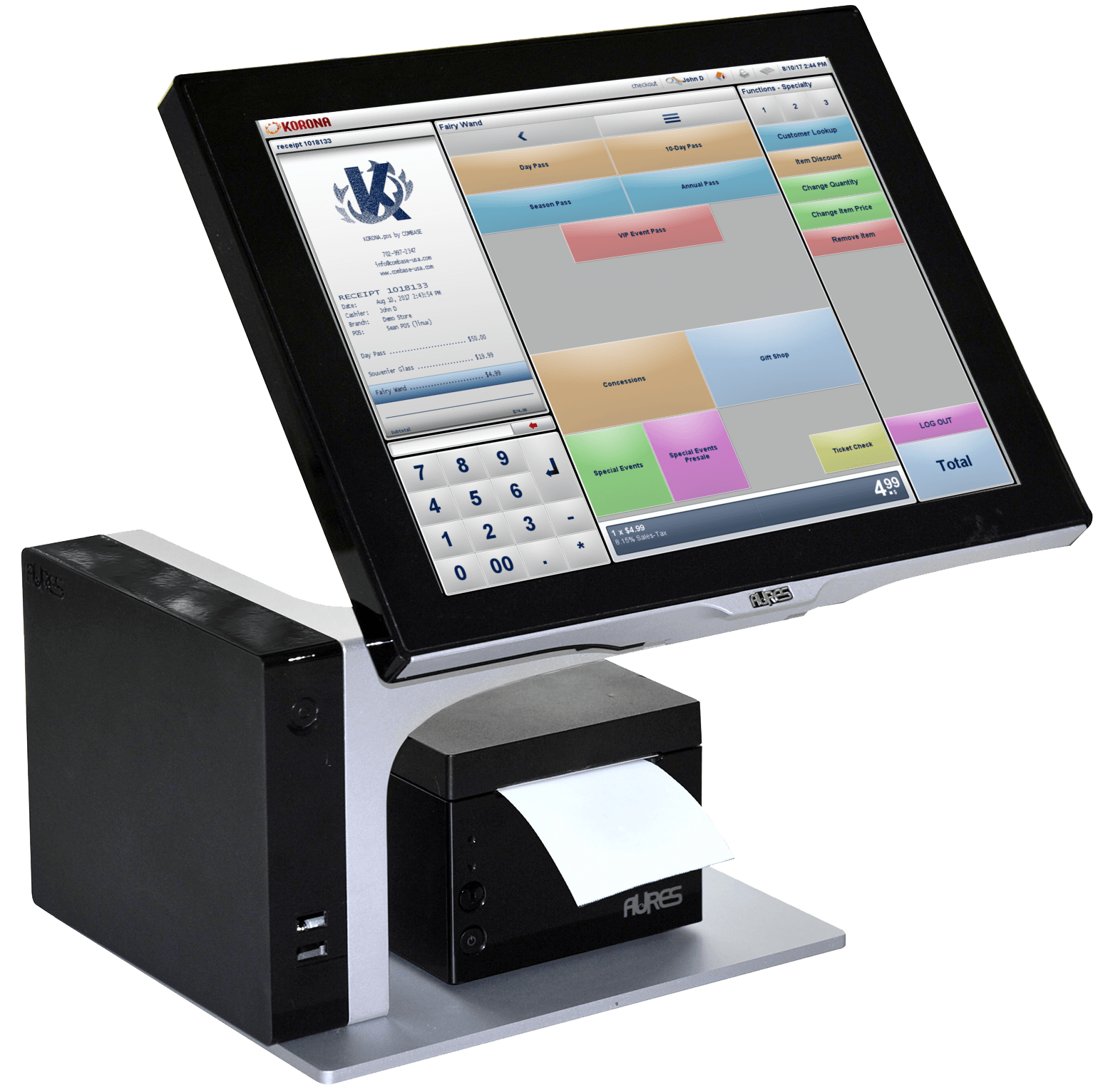 Salon POS system with receipt printer and scanner