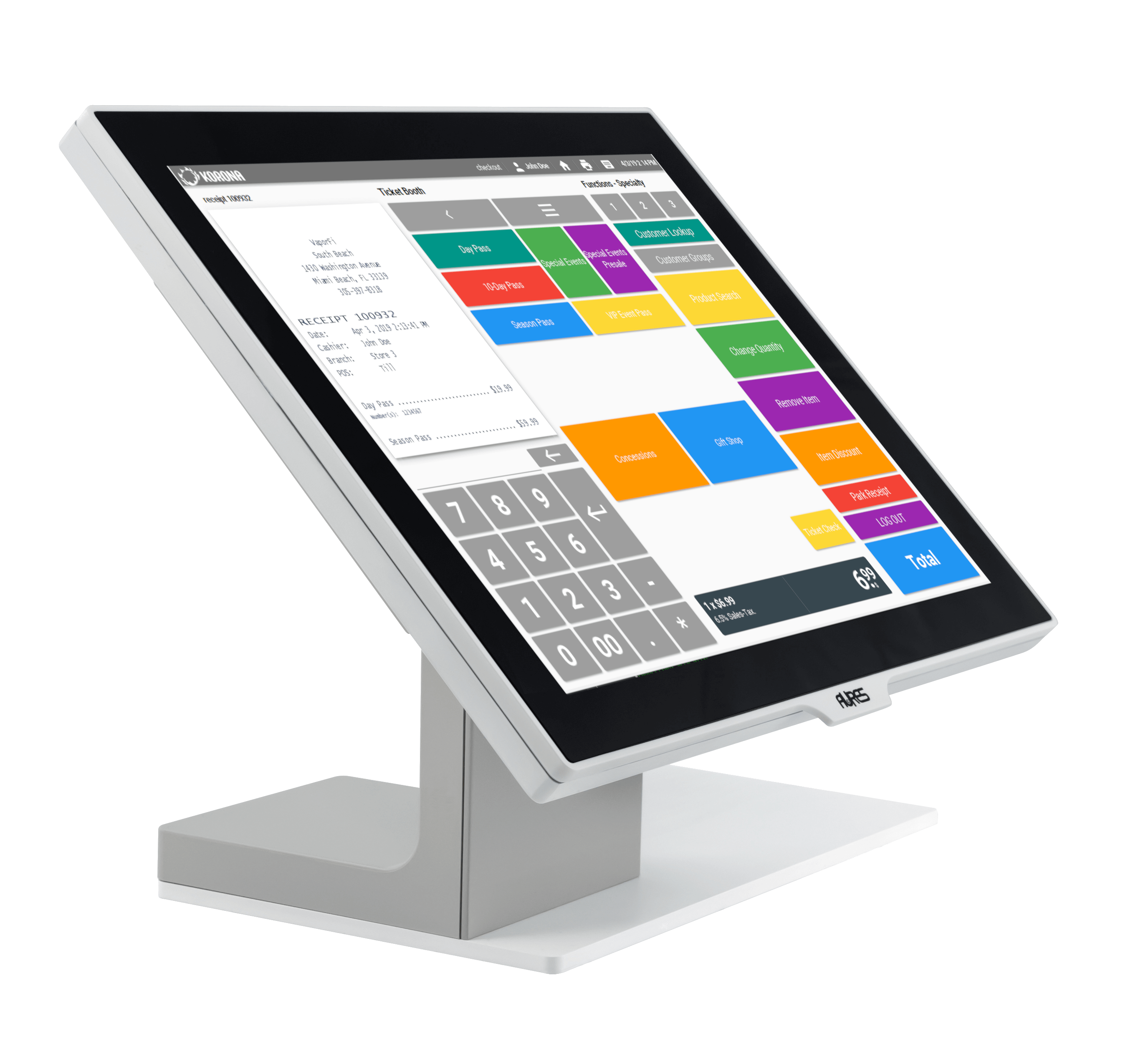 A gift shop POS system desktop hardware with homescreen for cashiers