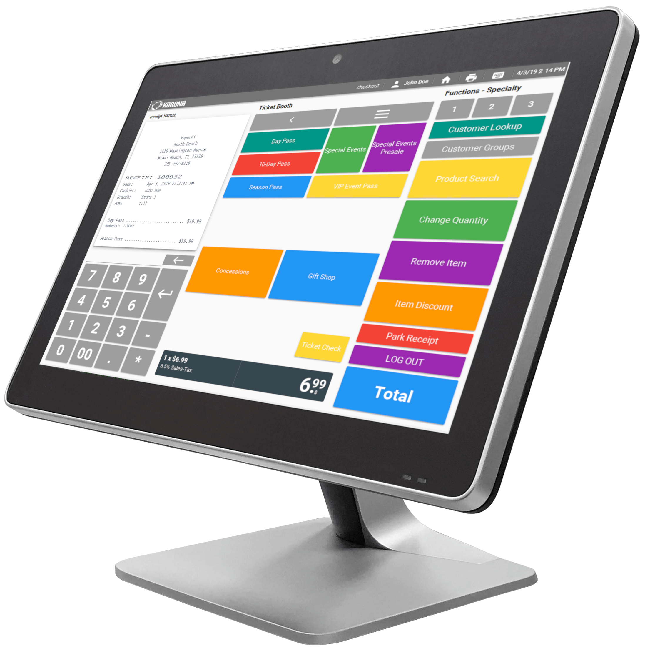 A Cloud POS desktop computer with KORONA homescreen