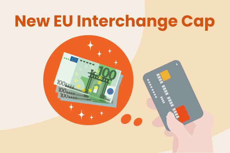 Person pays with credit card in the European Union