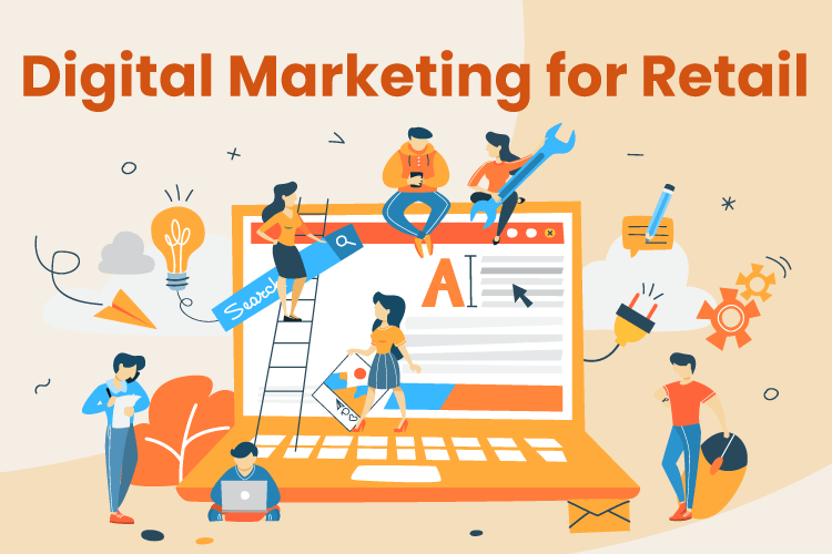 Team works together on digital marketing for a retail business