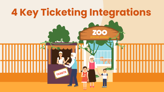 Group of people buy tickets for a zoo