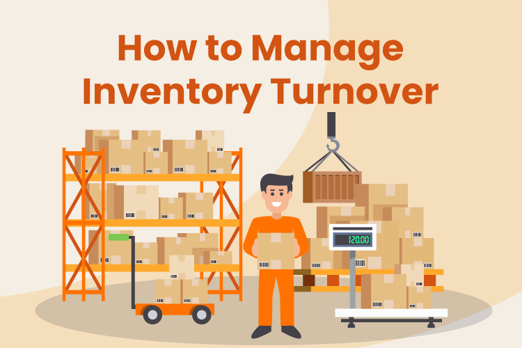 Person manages inventory turnover in a retail warehouse