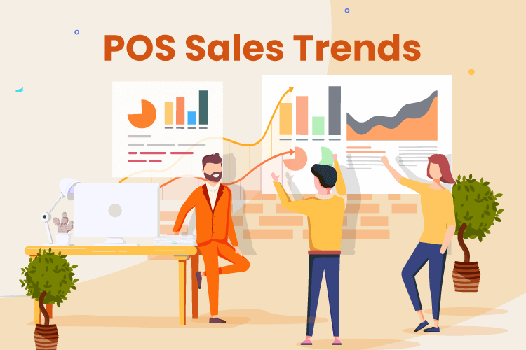 People discuss sales trends and reporting with POS reports and charts