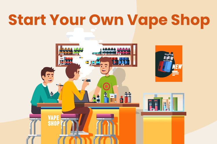 Group of people gather in a new vape shop to smoke