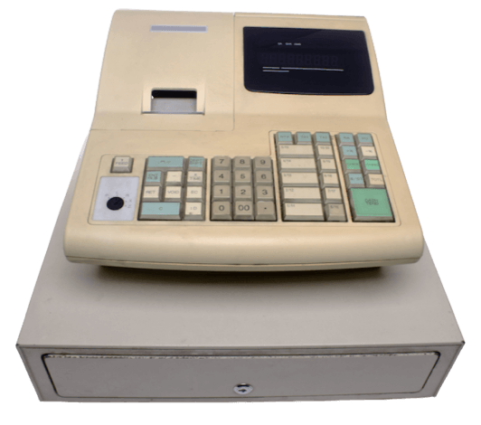 Early ePOS system with basic keyboard and cash register
