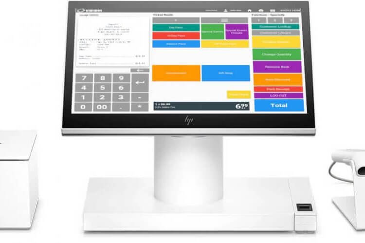 Dispensary POS system desktop touchscreen with receipt printer and product scanner