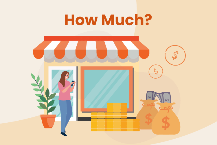 Illustration of small business owner with bags of money beside her