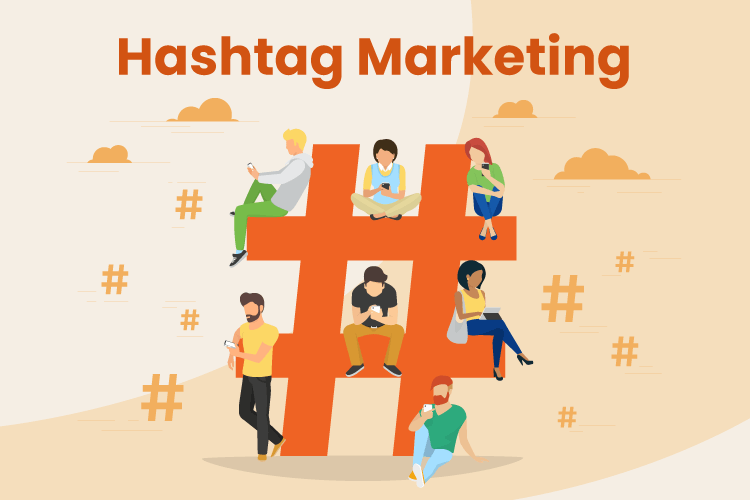 Illustration of a giant hashtag with people sitting on it