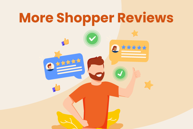 Illustration of a man getting more customer review for his business