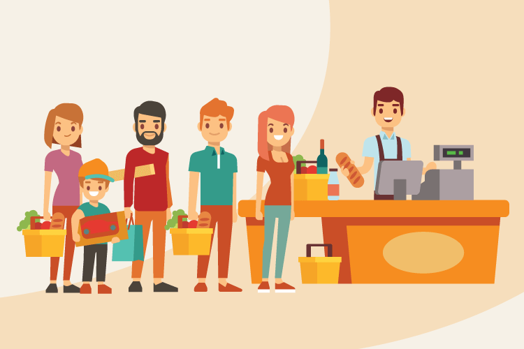 Illustration of happy group of loyalty customers in line at a coffee shop
