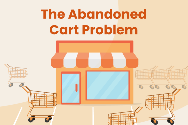 Illustration of retail store front with abandoned carts in the parking lot