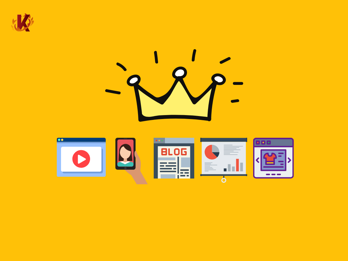 Graphic showing content is king with crown on top of online content