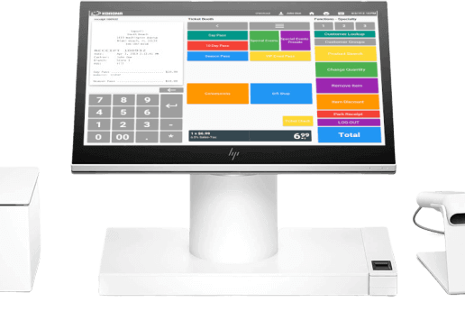 An all-in-one POS system with receipt printer, desktop touchscree,n, and scanner