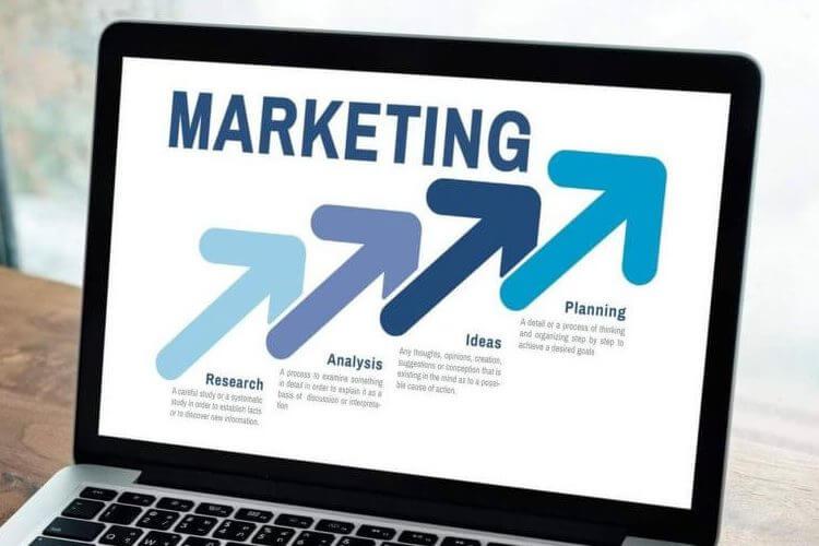 Computer screen showing off-season marketing strategy