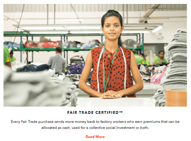 Fair trade certified. Every fair trade purchase sends more money back to factory workers who earn premiums that can be allocated as cash, used for collective social investment or both.