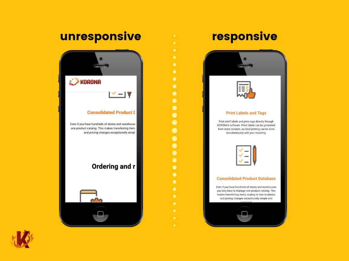 Unresponsive website vs responsive website displayed on two iphone mobile screens