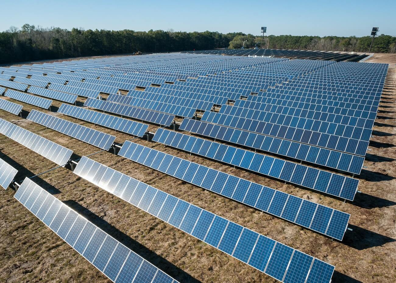 Field of solar panels to provide electricity