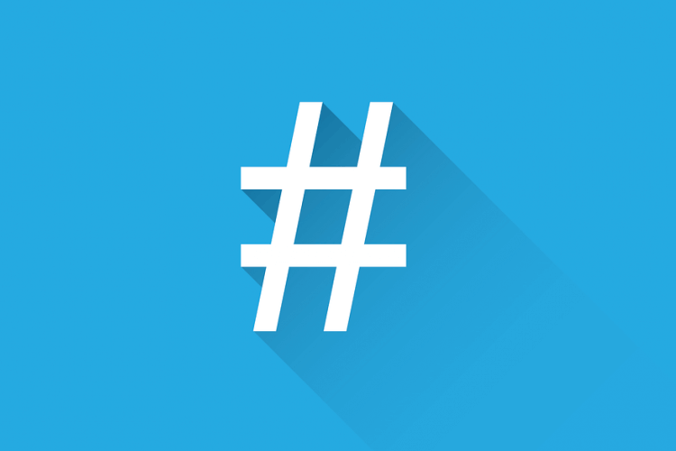 Big Twitter hashtag with blue background