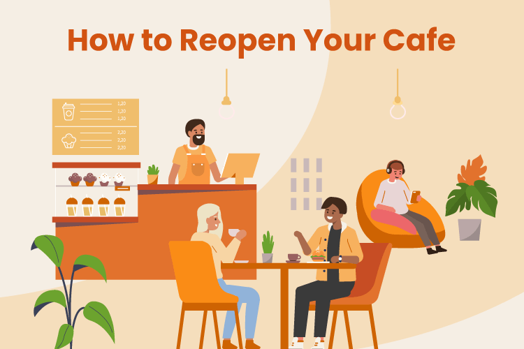 Illustration of people chatting and working around a coffee shop