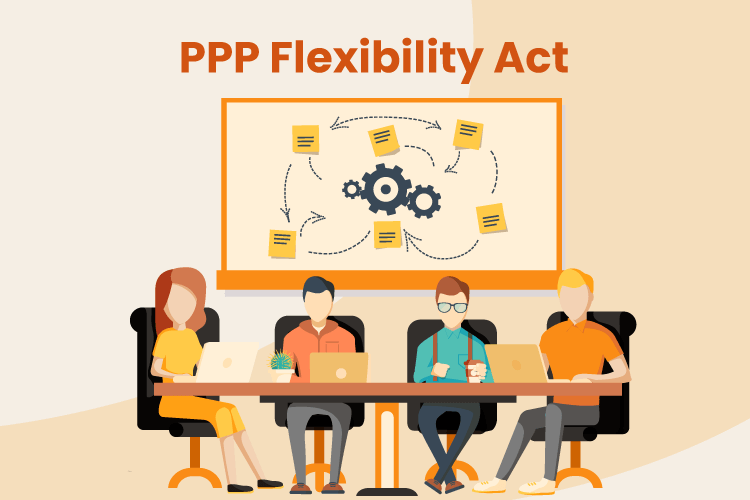 Illustration of a group of business owners discussing how to navigate the PPP loan and new Flexibility Act