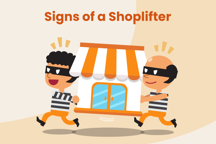 Illustration of two thieves stealing from a retail store