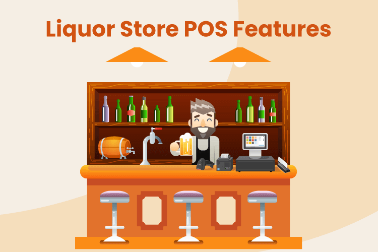 Illustration of a man working a liquor shop