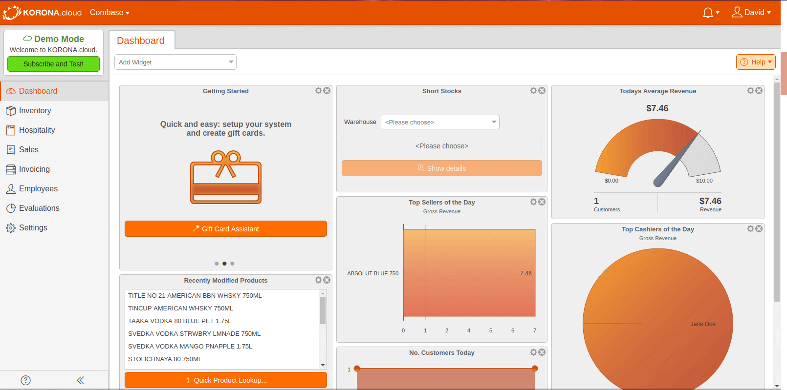 KORONA POS software dashboard page with metrics