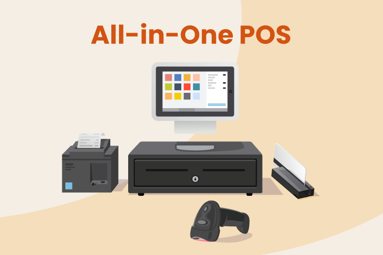All-in-one POS system with desktop, receipt printer, cash drawer, scanner, and credit card machine