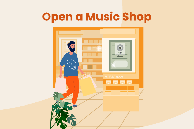 Illustration of man entering a new music and record store