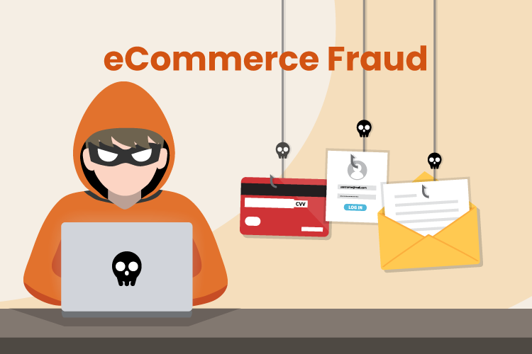 Illustration of a hacker wearing a mask and stealing credit card information through eCommerce fraud