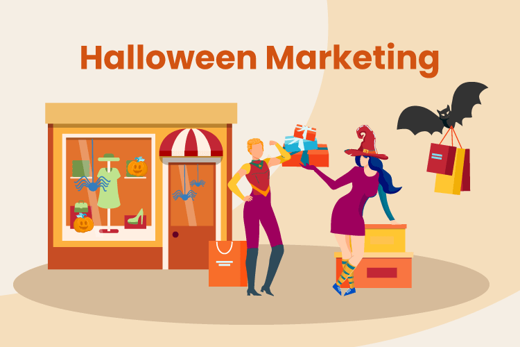 Illustration of people gathering at a store with Halloween costumes on