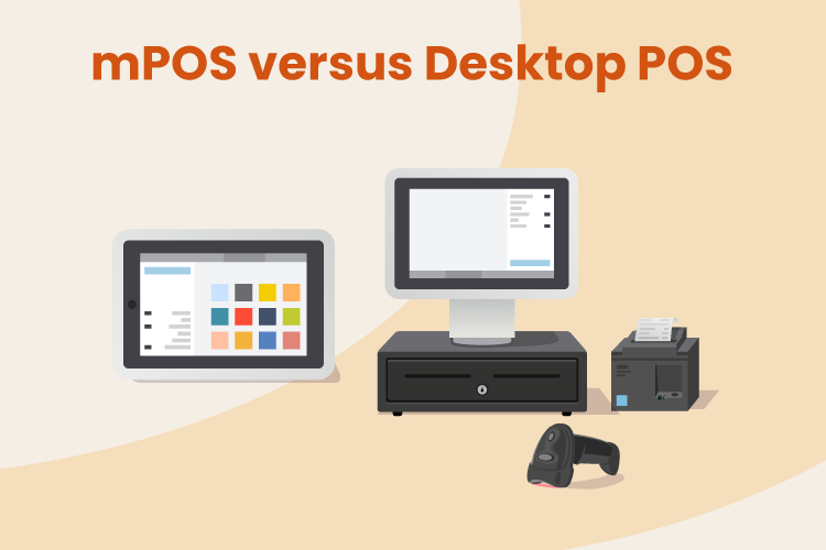 Illustration of a mobile tablet POS next to a desktop POS and cash register