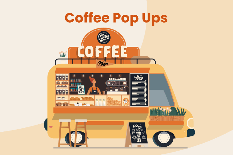 Illustration of a person working in a coffee pop-up food truck