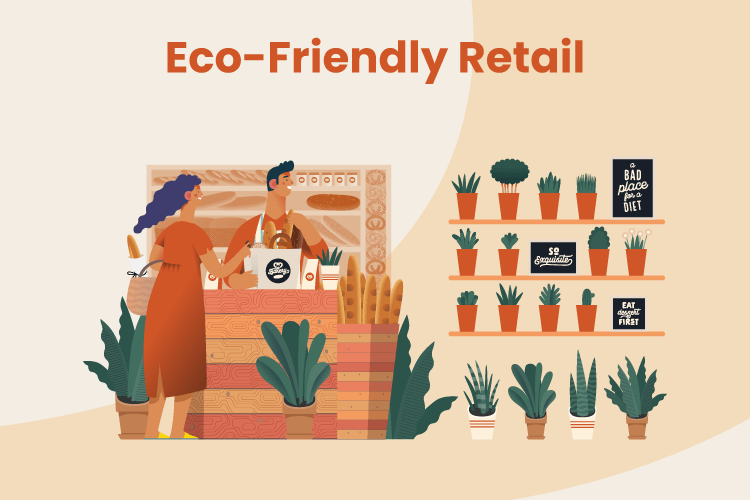 Illustration of an eco-friendly retail store with plants