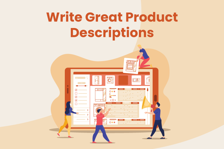 Illustration of group of people writing product descriptions