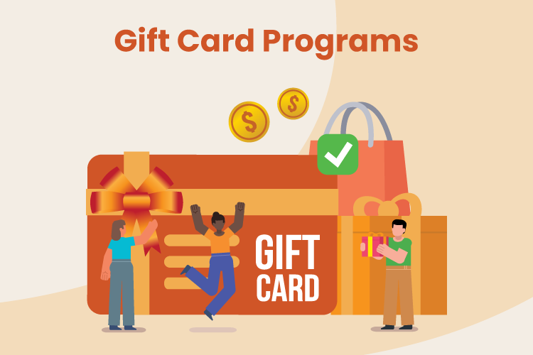 Illustration of people celebrating getting a gift card