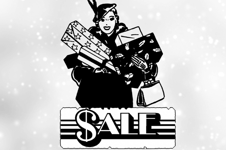 Cartoon woman shops for holiday gifts