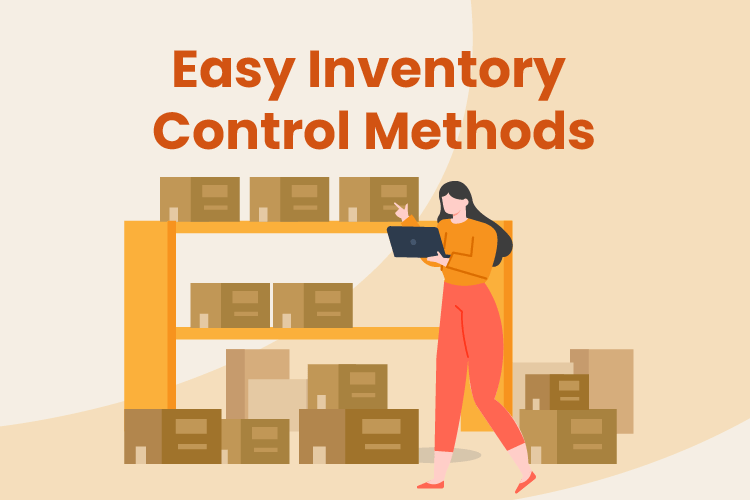 Illustration of woman counting inventory boxes in a warehouse